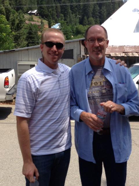 Son of Tim, Mike (Mikey) Beals with Lee Adams just prior to Adams dumping a bottle of water on the Press.